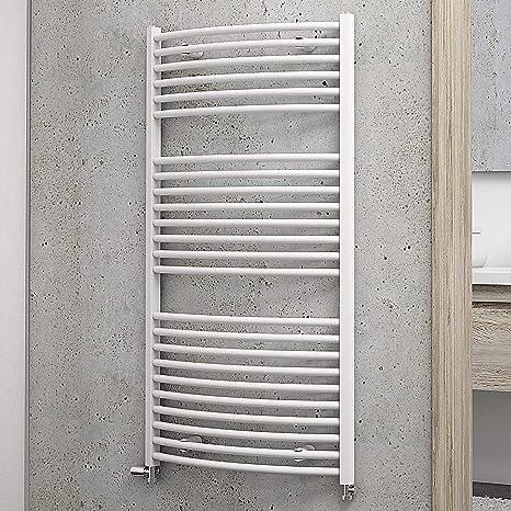 Schulte Bad-Heizkörper Europa gebogen, 113 x 60 cm, 609 Watt Leistung,  Anschluss beidseitig unten, alpin-weiß, Handtuchhalter-Funktion