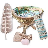 "Sage Smudge Kit - White Sage Smudge Sticks Incense Sticks, Rose Quartz, Abalone Shell 5""+, Stand, Smudging Feather…"