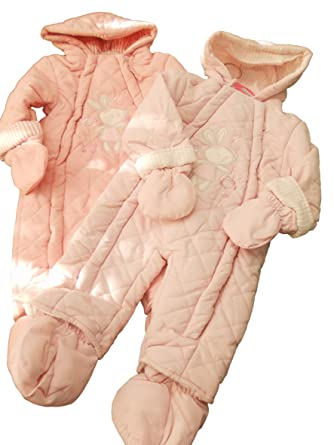 52e89b60e BNWT Baby Girl Pink Pale Pink Warm Winter Padded Bunny Snowsuit 3 ...
