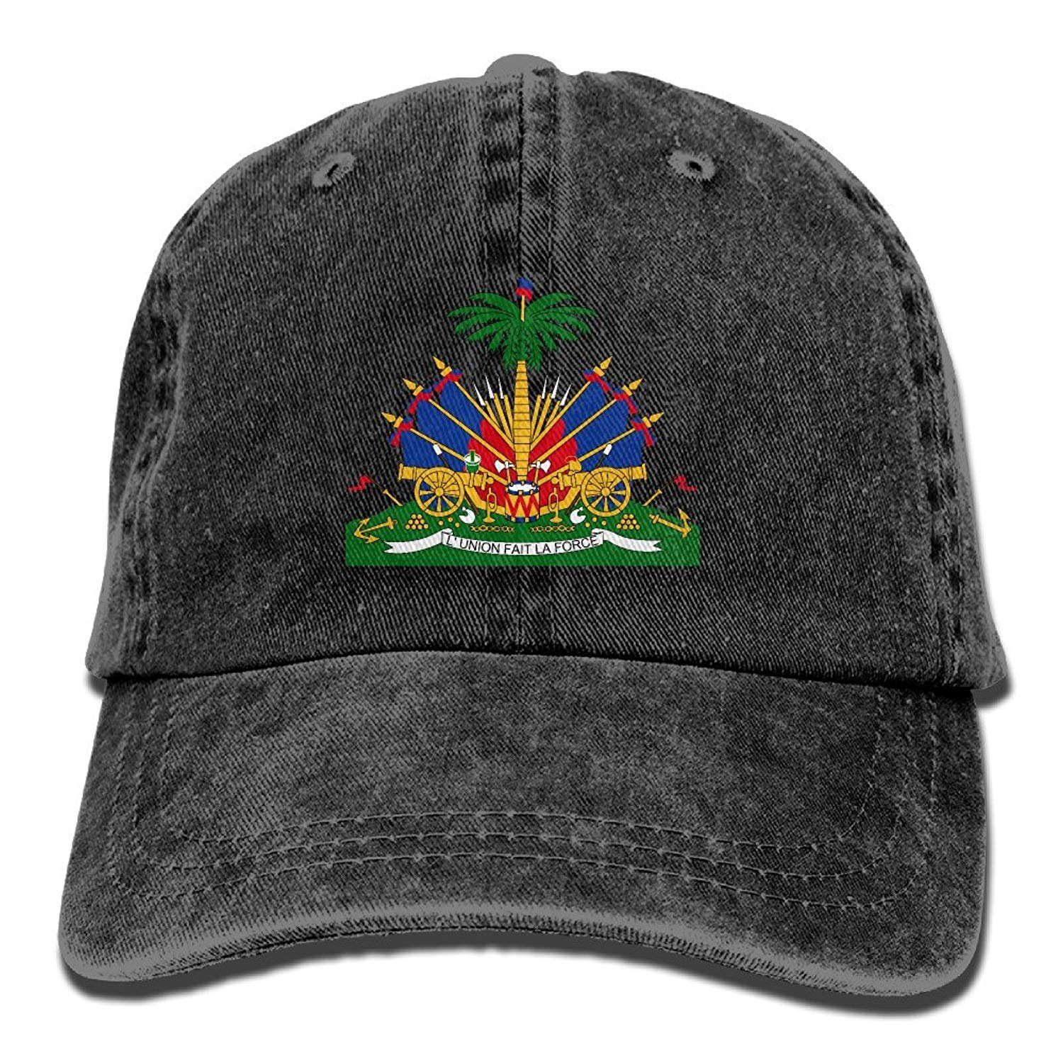 JTRVW Cowboy Hats Coat of Arms of Haiti Unisex Adult Adjustable Jeans Dad Hats