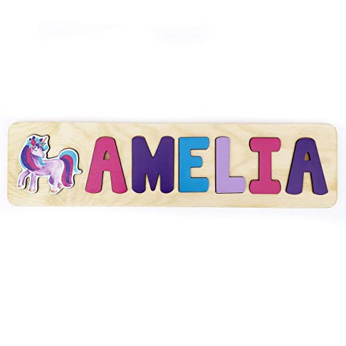 Pink PRICE PER LETTER UNICORN Wooden Letters Childrens Name Door Sign
