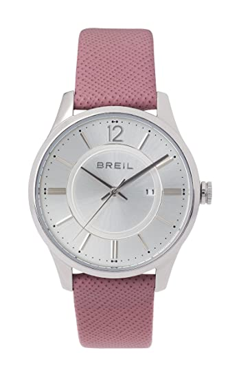 BREIL - Reloj para Mujer Contempo - Esfera Plateada - Caja de Acero de 33 mm - Correa de Piel Rosa - Movimiento de Cuarzo: Amazon.es: Relojes