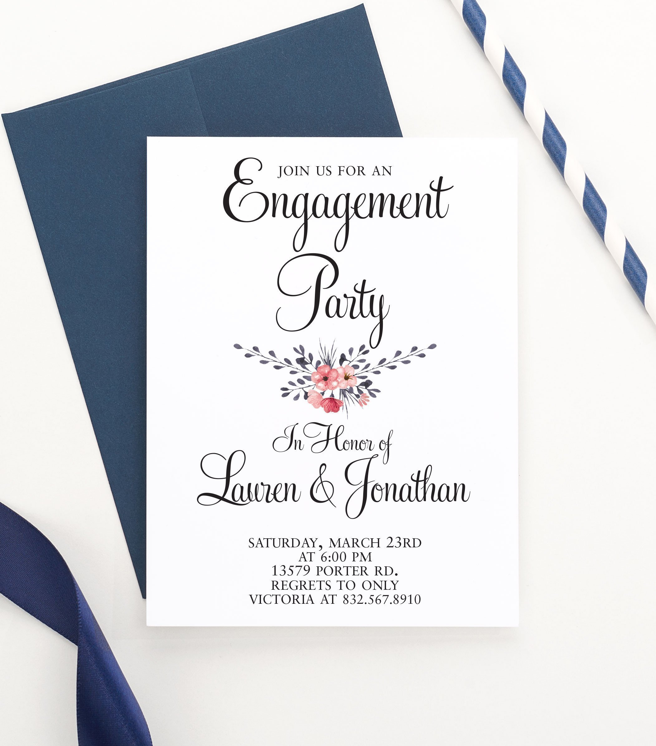 Rustic Engagement Party Invitation, Floral Engagement Party Invitation, Engagement Announcements, Engagement Party Invitations, Your choice of quantity and envelope color