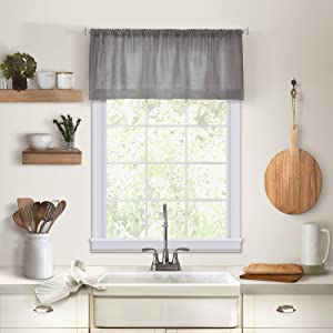 "Elrene Home Fashions Cameron Kitchen Valance, 60"" W x 15"" L (1, Gray"