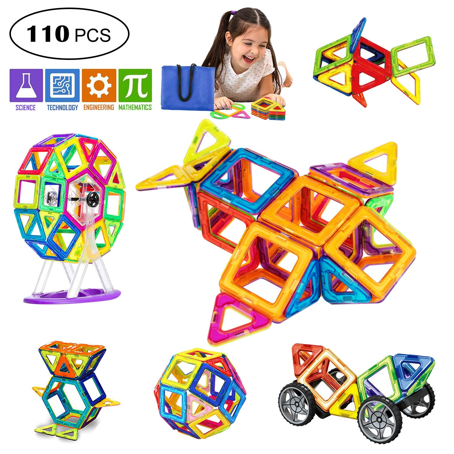 GvenTo Magnetic Blocks Building Set for Toddler/Kids, Magnetic Tiles Educational Toys for Boys/Girls (110 pcs)
