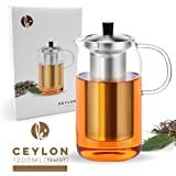 Glass Teapot Kettle with Infuser Set - Stovetop Warmer Tea Pot with Stainless Steel Strainer for Loose Leaf Tea (5 Cup, 40oz)