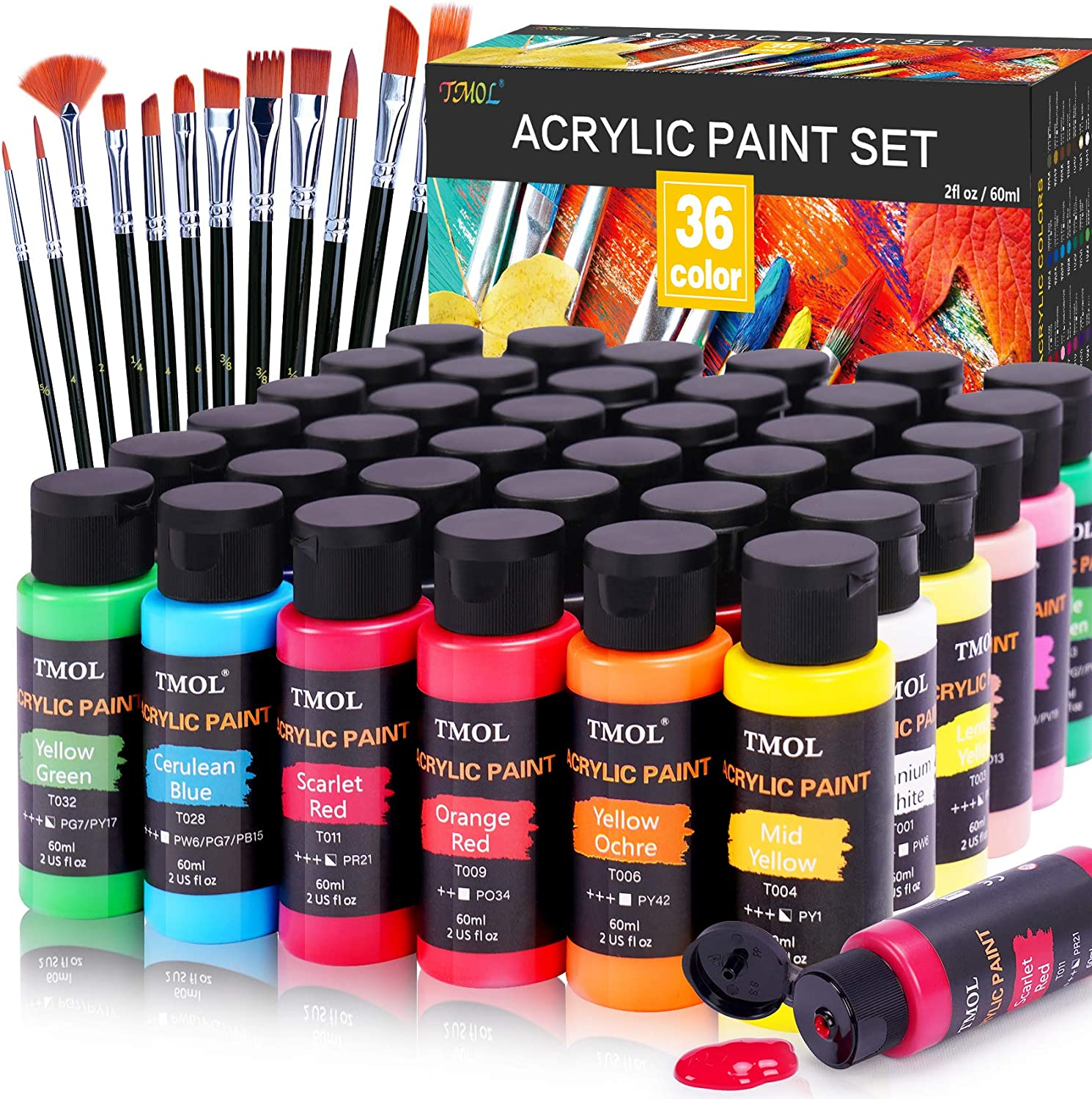 Acrylic Paint Set, 36 Colors (2 oz/Bottle) with 12 Art Brushes, Art Supplies for Painting Canvas, Wood, Ceramic & Fabric, Rich Pigments Lasting Quality for Beginners, Students & Professional Artist