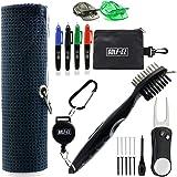 Golf-EZ Golf Essentials 21 Piece Kit | Microfiber Towel | Retractable Cleaning Brush | Divot Repair Tool | Golf Ball…