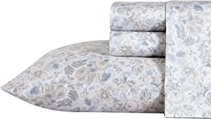 Laura Ashley Home - Sateen Collection - Sheet Set - 100% Cotton, Silky Smooth & Luminous Sheen, Wrinkle-Resistant Bedding, Queen, Quartet