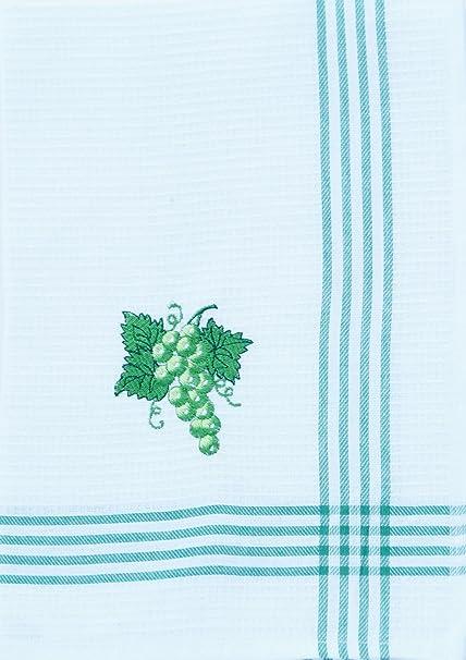 6 pieza bordado paño de cocina color blanco diseño uvas verde Set 70 x 50 cm