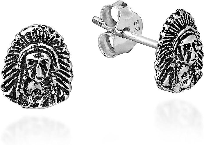Black Hawk Native American Design Style Novelty Silver Plated Stud Earrings