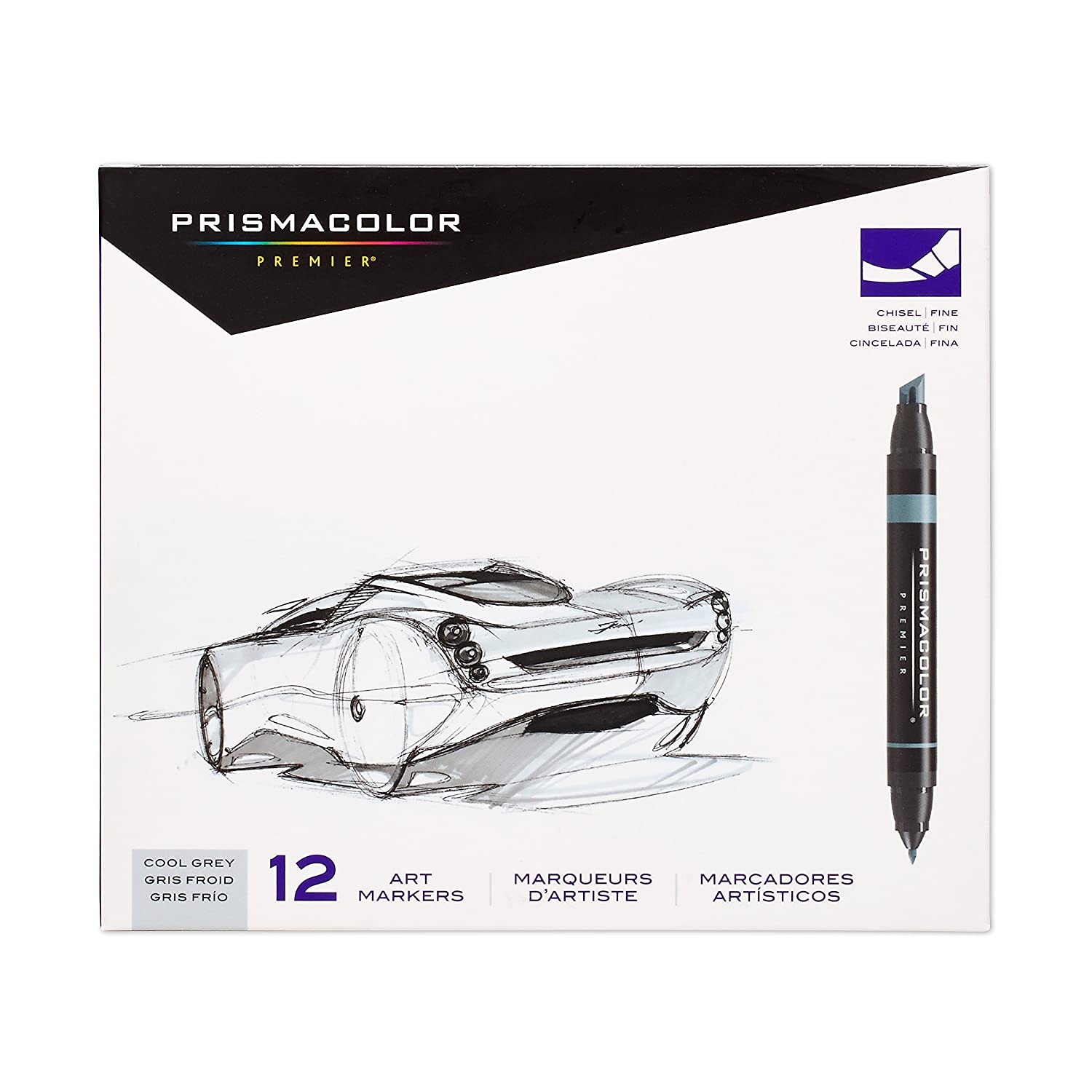 Prismacolor Premier Double-Ended Art Markers, Fine and Chisel Tip, Warm Grey, 12-Count Newell Rubbermaid Office 3623