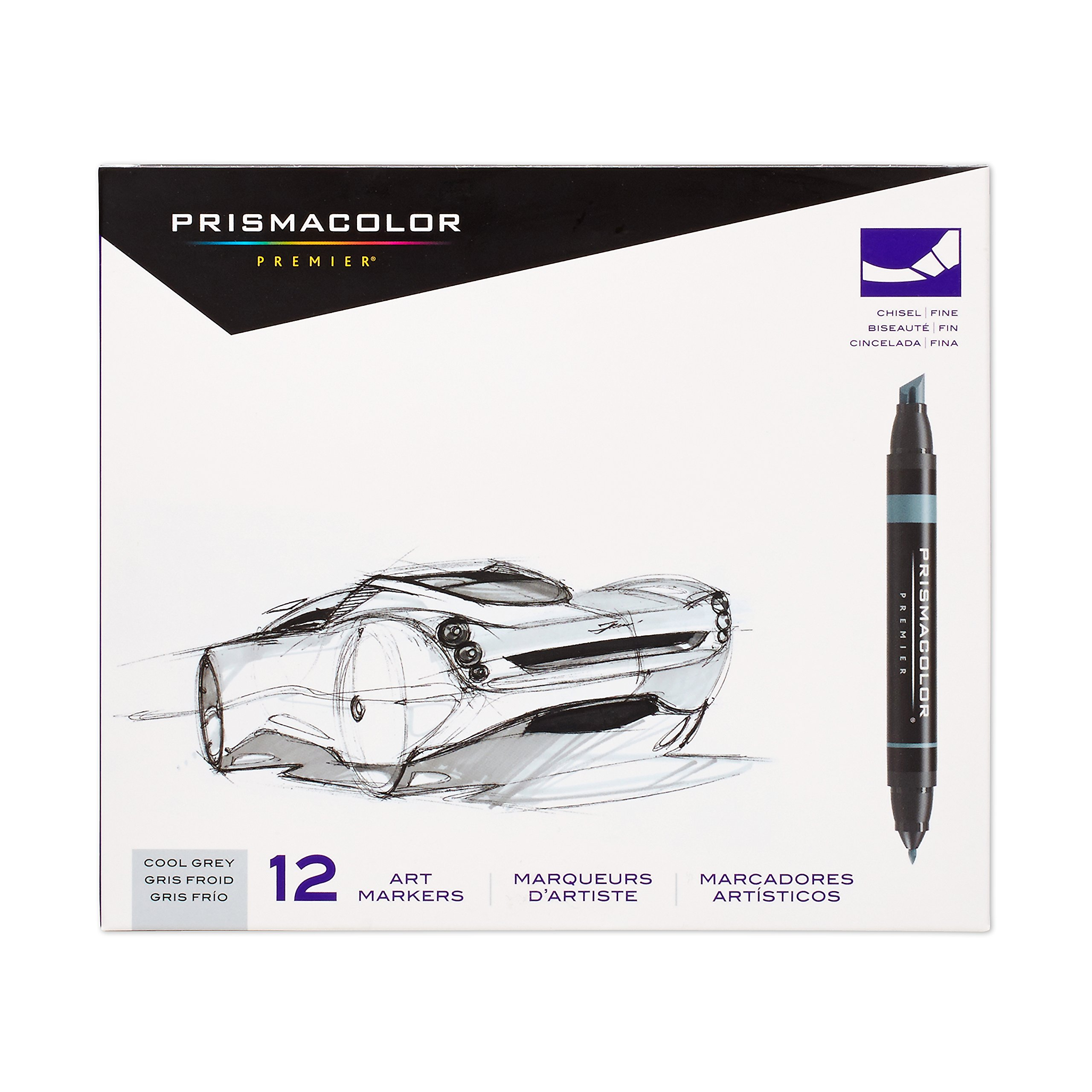 Prismacolor 3622 Premier Double-Ended Art Markers, Fine and Chisel Tip, Cool Grey, 12-Count by Prismacolor