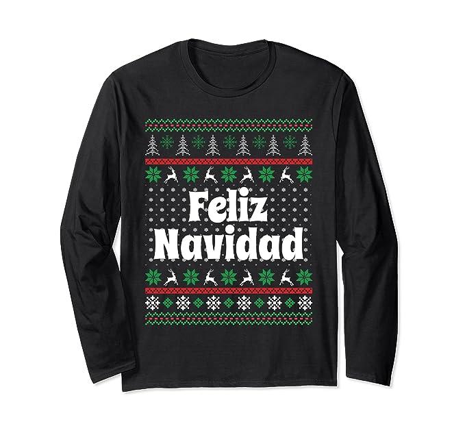 unisex christmas gift ideas feliz navidad spanish sweater ls tee small black