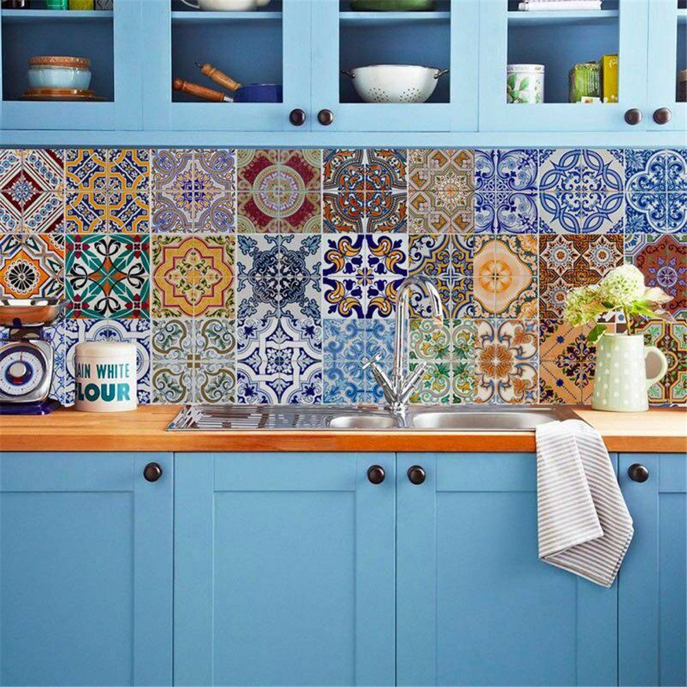 Amazon.com: Backsplash Tile Stickers, DIY Tile Decals Mexican ...