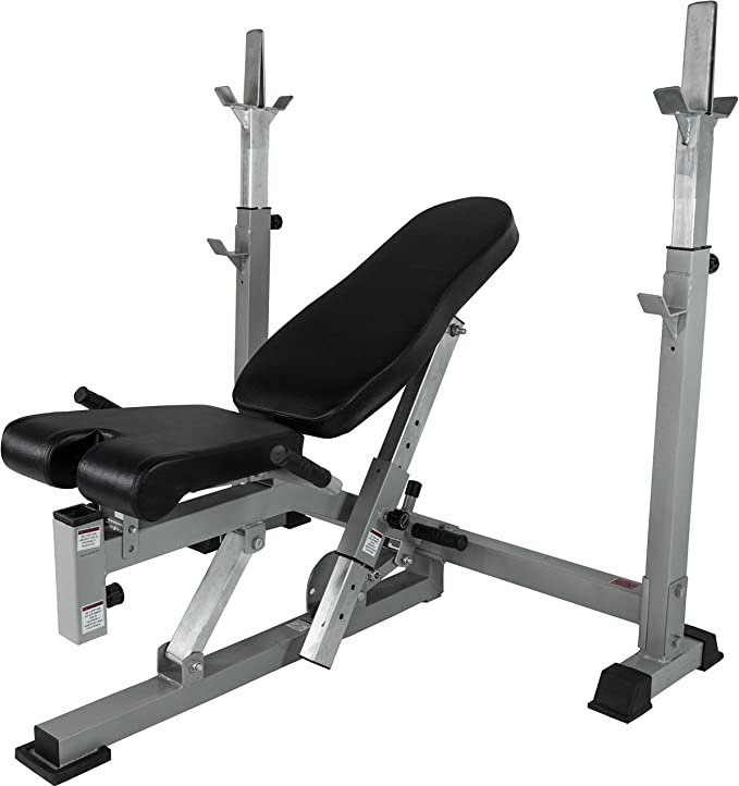 Valor Fitness BF-7 Olympic Bench with Spotter Stand Plus Olympic Weight Bench with Weights /& Bar Option