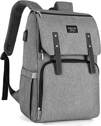 MOSISO Diaper Bag Backpack Gray Multifunction Large Capacity Lightweight Stylish Nappy Maternity Nursing Baby Bags with Changing Pad Adjustable Durable Travel Back Pack with Stroller Straps