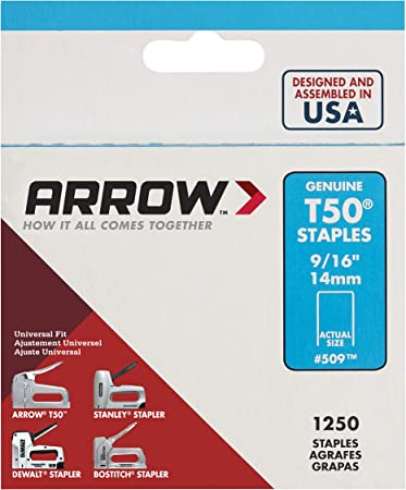 """T50 Staples  9//16/"""" Steel 1250//Pack  Arrow Fastener 509 14mm"""