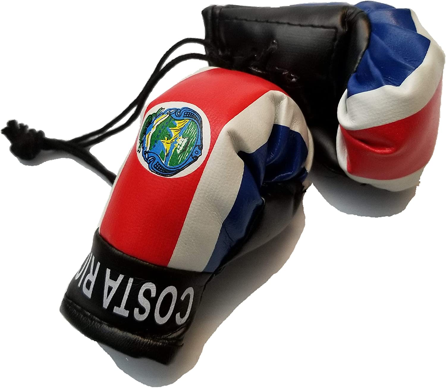 BUNFIREs Costa Rica Flag Mini Banner Boxing Gloves Rear View Mirror Costa Rican Flag Banner