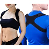 """Upper Back Support Posture Corrector – Fits 24""""-48"""" Chest for Women & Men – Elastic, Sweat Wicking Back Brace Corrects Posture at Work – Clavicle Brace Fixes Bad Shoulder Alignment – Velcro Adjustable"""