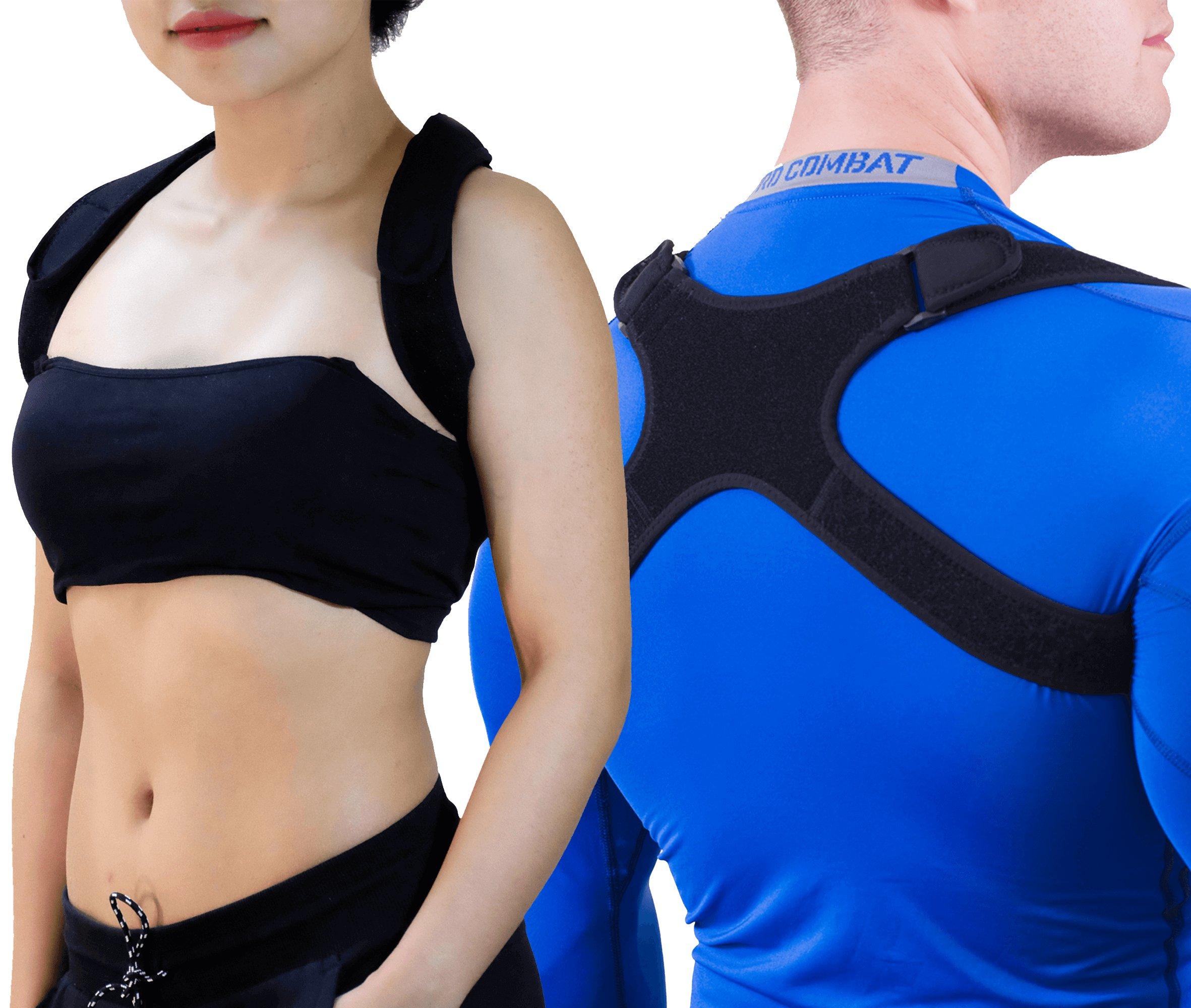 "GAVIMAX Upper Back Support Posture Corrector – Fits 24""-48"" Chest for Women & Men – Elastic Back Brace Corrects Posture at Work – Clavicle Brace Fixes Bad Shoulder Alignment –Velcro Adjustable"