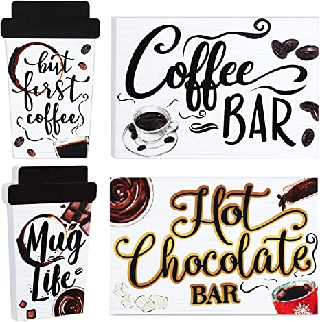 Amazon Com 2 Pieces Coffee Bar Table Decorations Tiered Tray Decors Kitchen Centerpieces Sign But First Mug Life Station For Farmhouse Theme Double Print Mini Wood Ornaments