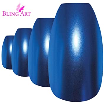 Bling Art Uñas Postizas Azul Metallic Bailarina 24 Ataúd Longe Falsas puntas acrílicas con pegamento