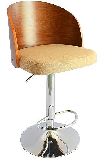 Ts Ideen 1x Design Club Stuhl Barhocker Barstuhl Küchen Esszimmer Sitz  Höhenverstellbar Stoff Beige Holz