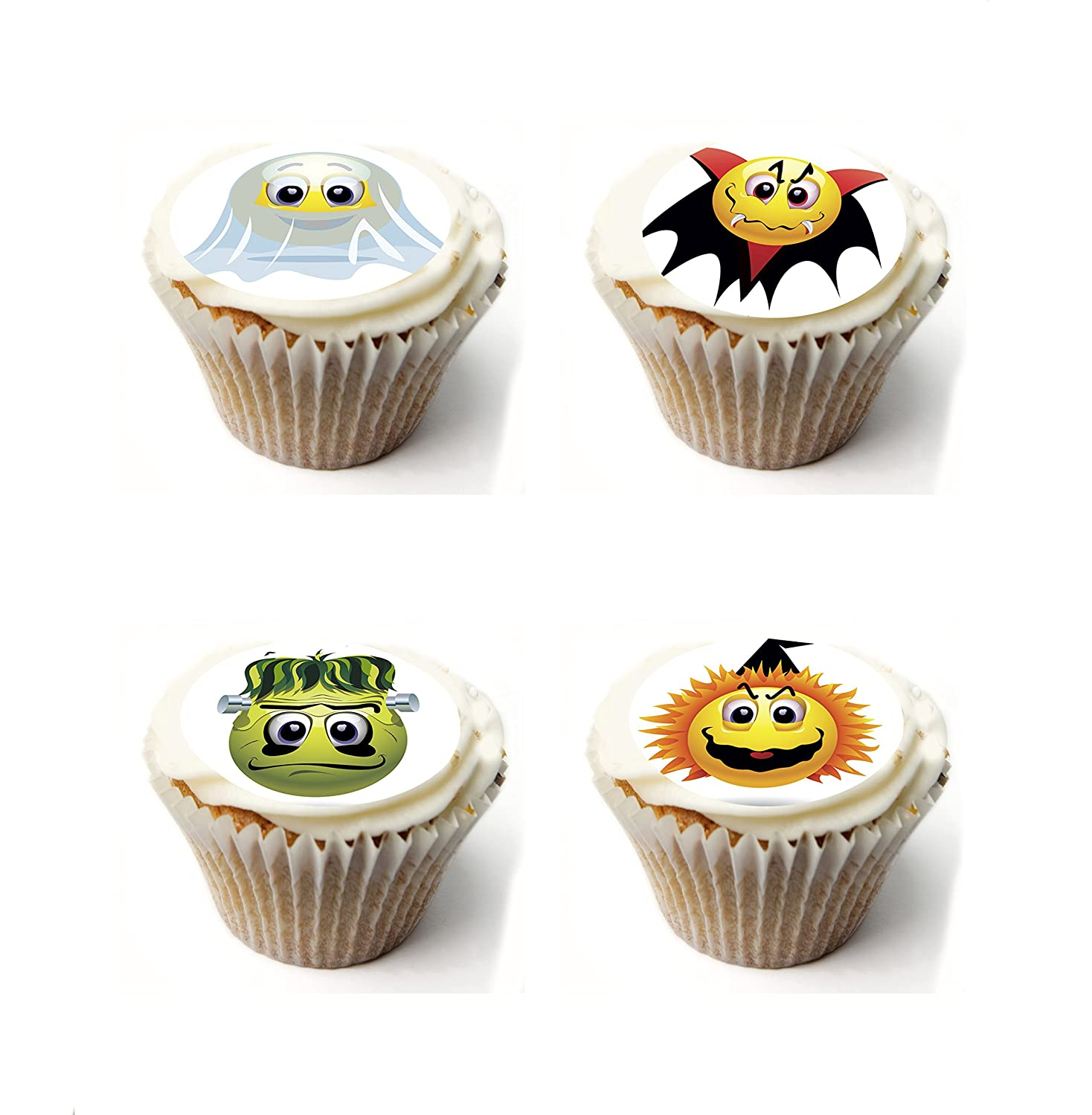 Halloween Emoji Cupcake Toppers Fairy Cake Toppers Muffin Cake Toppers PRE CUT Edible Icing Frosting Sheet or Rice paper Wafer. x 20 PRE CUT 1.75 Inch. Ideal for halloween party, halloween cake, halloween decoration etc