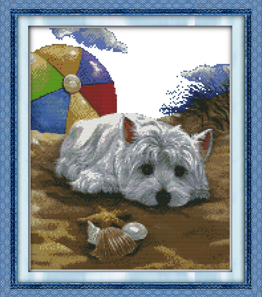 CaptainCrafts New DIY Art Stamped Cross Stitch Kit Pre-Printed Pattern Counted Embroidery Kits - Dog Missing (STAMPED)