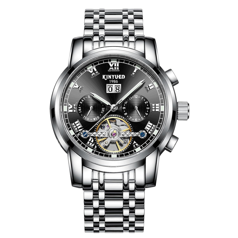 メンズ ス 高級ブランド 腕時計 全自動機械式 自動巻き ウォッチ 高品質 50気圧防水 日付表示 ステンレススチール おしゃれ watch B075JKCN4K シルバー+ブルー文字盤