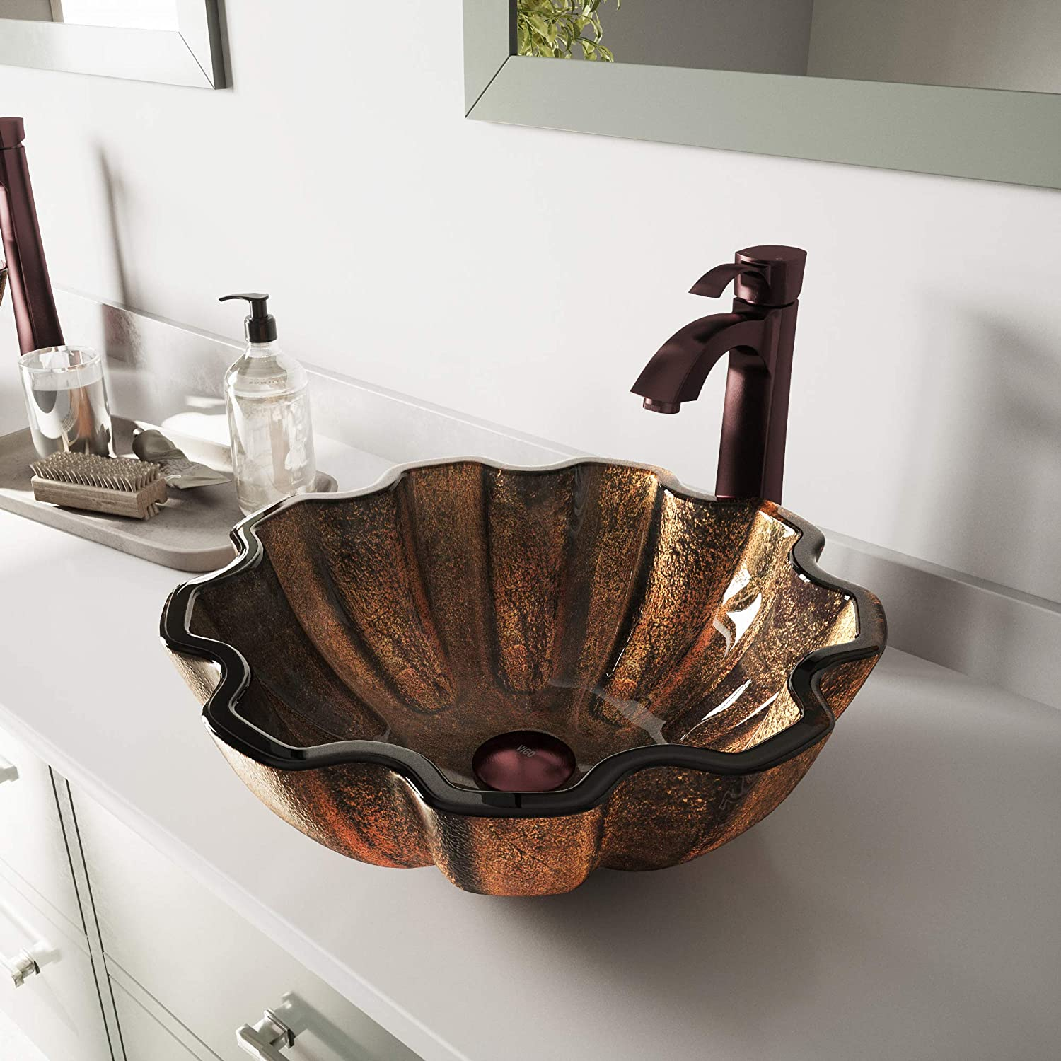 VIGO Walnut Shell Glass Vessel Bathroom Sink and Otis Vessel Faucet with Pop Up, Oil Rubbed Bronze