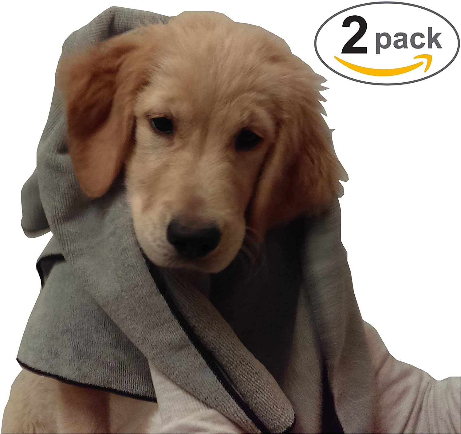 "2 Pack Microfiber Pet Bath Towels For Cleaning Dogs & Cats - Large 20""x40"" - Hypoallergenic Chemical-Free Cleaning And Grooming Absorbent Animal Blanket Cloths"