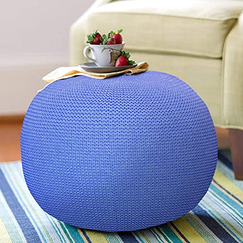 Navy Hand Knitted Ottoman Poufs for Living Room – 100 Cotton Braid Cord – Handmade Hand Stitched – Ottoman Pouf Footrest Footstool – Ottoman Footrest Round – Foot Rest for Couch – Pouf Chair