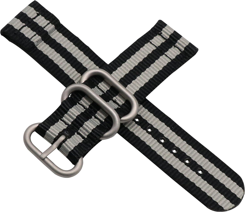 Le Style NoirGris NATO Haut de Gamme Montre Nylon balistique Remplacement de la Courroie de Bande pour Les Hommes tressés Occasionnels