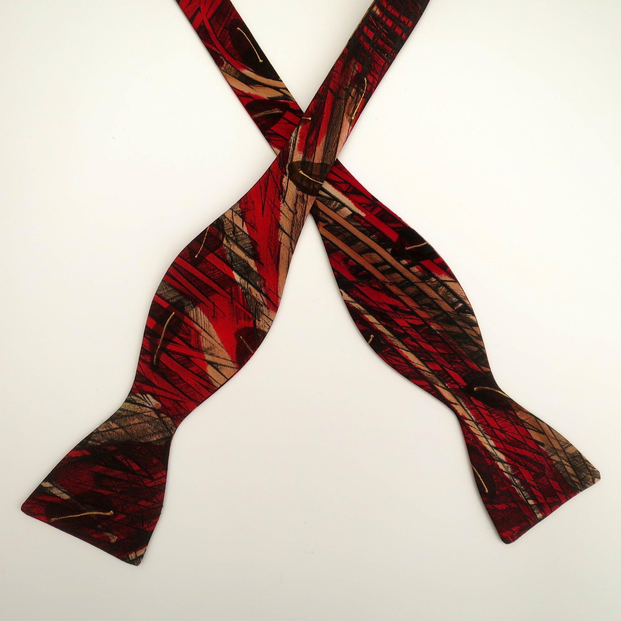 100% Silk Hand-Painted Hand-Made Men's Self Tie Bow Tie ''Scarlet Leaf'' Art to Wear by Murphyties