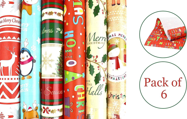 4 x 5m Rolls Present Wrap Gift Christmas Festive Decor  Xmas Traditional Novelty