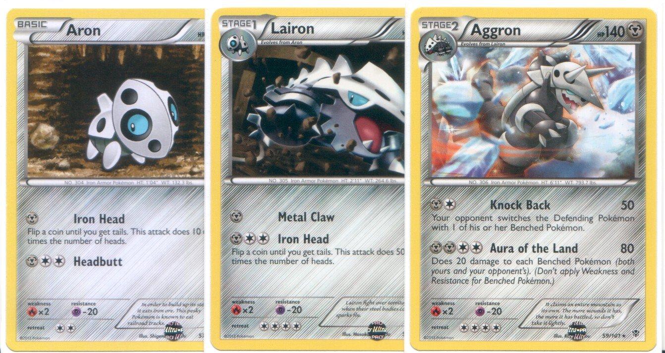 Pokemon Aggron, Lairon and Aron - Rare Card Evolution Set (Plasma Blast #57, #58 and #59)