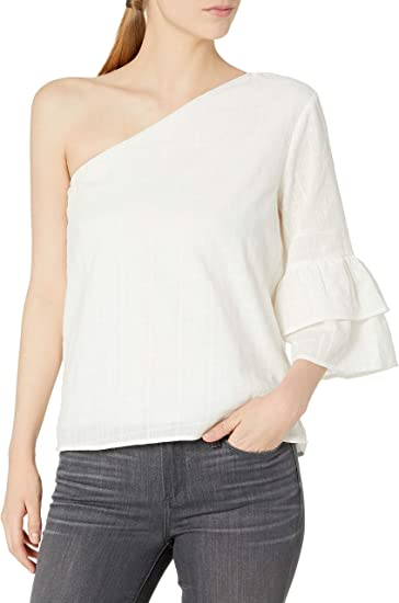 Lucca Couture Womens Isabelle One Shoulder Ruffle Top