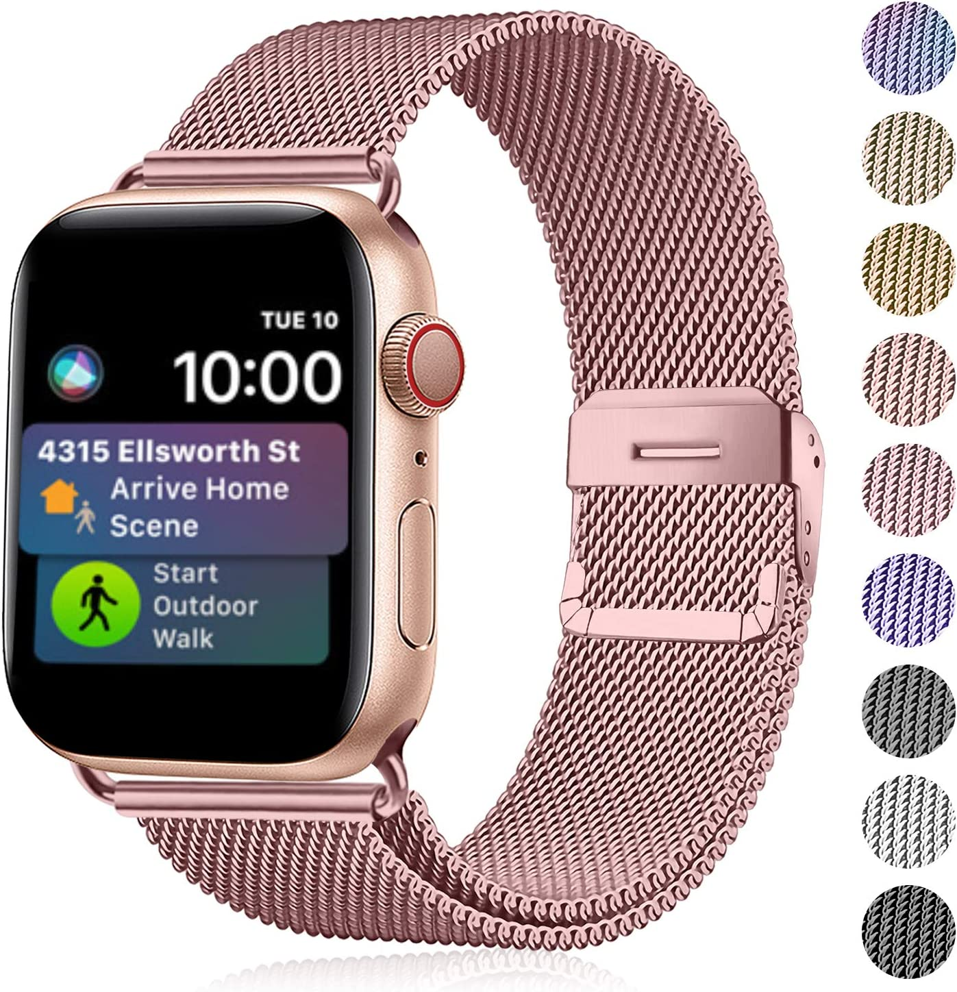 Funbiz Metal Correa Compatible con Apple Watch 38mm 40mm 42mm 44mm, Pulsera de Repuesto de Acero Inoxidable para iWatch Series 5 4 3 2 1