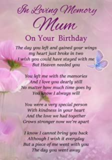 In Loving Memory Mum On Your Birthday Memorial Graveside Funeral Poem Keepsake Card Includes