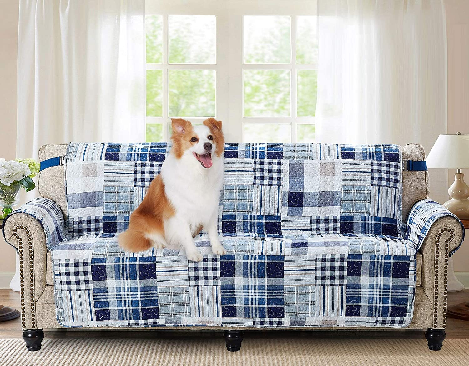 "Brilliant Sunshine Blue Plaids and Stripes Patchwork, Reversible Large Sofa Protector for Seat Width up to 70"", Furniture Slipcover, 2"" Strap, Couch Slip Cover for Pets, Kids, Dogs, Cats, Sofa, Blue"