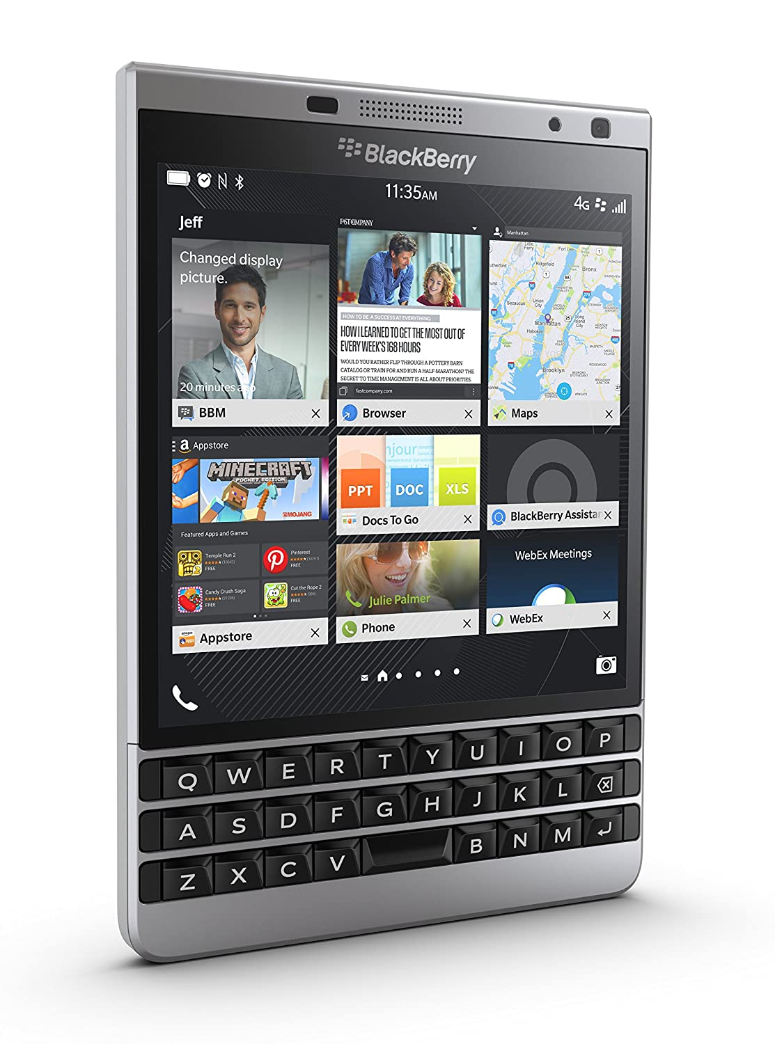 fce7194495e389 Amazon.com  BlackBerry Passport Unlocked Phone - Retail Packaging - Silver   Cell Phones   Accessories