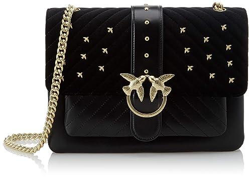 81ab45040bd Pinko Big Love Metal Birds, Women's Shoulder Bag, Black (Nero Limousine),
