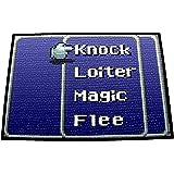 "PersonalThrows Retro RPG Menu Doormat Welcome Floor Mat Durgan Non-slip Backing, 18"" L x 24"" H, Black"