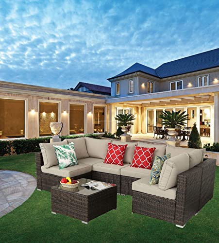 HTTH Patio Furniture Sets Outdoor Rattan Wicker Conversation Sofa Garden Sectional Set