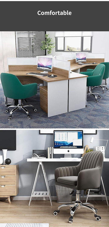W-PLEIY Kontor svängbar fri stol, justerbar spellyftstol, 360 ° vridbar sammet kontorsstol, ergonomisk mittrygg datorsäte, maximal belastning 150 kg – ljusblå Mörkgrått