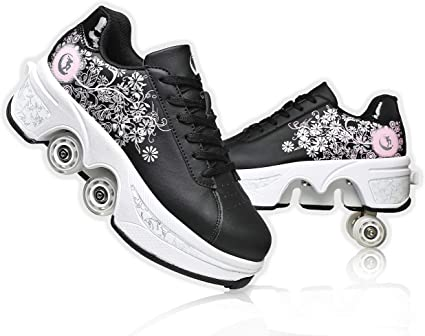 Amazon Com Yousioi Deformation Roller Shoes Retractable Skating Shoes That Turn Into Rollerskates Outdoor Parkour Shoes With Wheels For Girls Boys Skates Rollerskate Wheel Shoes Sports Outdoors