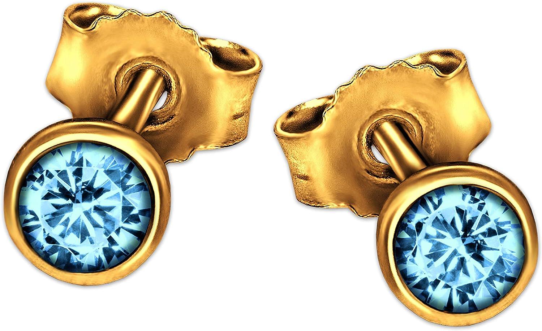 Clever joyas pendientes de oro con piedras preciosas topacio azul color azul claro (4mm de diámetro en Copas Capacidad brillante 333Oro 8quilates en estuche