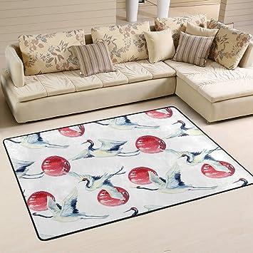 Coosun Aquarell Asiatischen Kran Vogel Muster Bereich Teppich Teppich  Rutschfeste Fußmatte Fußmatten Für Wohnzimmer Schlafzimmer 82.9